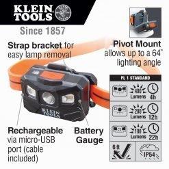 Linterna frontal recargable con correa de silicona, 400 lm, Klein Tools 56064 - sumicali